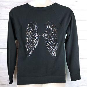 Victorias Secret Sequin Angel Wings Sweatshirt Women's M Black Bling Logo