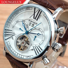 Mens Automatic Mechanical Watch Date Day Silver White Dial Brown Leather