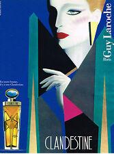PUBLICITE ADVERTISING 035  1986  GUY LAROCHE  parfum femme Clandestine