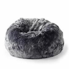 FUR BEANBAG Cover Soft Plush Charcoal Grey Cloud Bean Bag Lounge Chair New