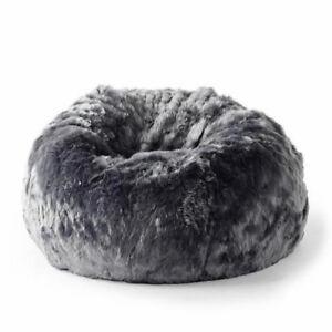 New Ivory & Deene Fur Beanbag Cover Soft Charcoal Grey Bean Bag Lounge Chair