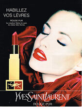 PUBLICITE ADVERTISING 074  1998  YVES SAINT LAURENT   ligne ROUGE PUR  lèvres