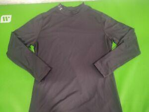 Under Armour  Mens Black Mock Neck Compression Long Sleeve Cold Gear Shirt XL