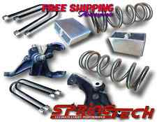 "ST 1982-2004 S10 Sonoma Blazer V6 4""-4"" Lowering Drop Spindles Coils Block Kit"