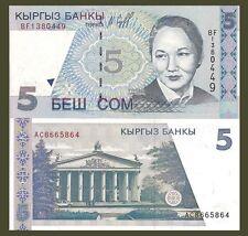 Kyrgyzstan P13a, 5 Som, national opera / Ballerina Beishenaliyeva 1997 UNC $3 CV