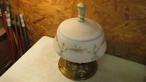 Antique Brass Plated Ceiling Light Fixture & Globe- Flowers & Bows
