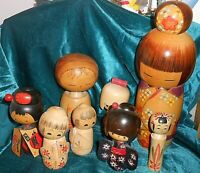 8 Different Japanese Wood KOKESHI Doll Dolls Lot Some Signed