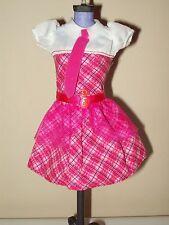 Barbie Doll Clothes Charm School Princess Blair Pink White Plaid Dress Tie Belt