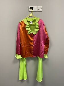 1960s/1970s Multi Coloured Satin Top & Trousers XL Fancy Dress Cosplay Clown