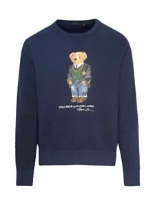 Polo Ralph Lauren Men's Navy Teddy Bear Sweatshirt Slim Fit Size Large(Q1)