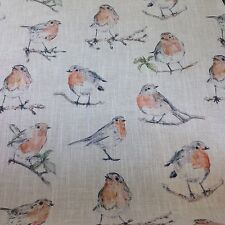 Clarke + Clarke Dawn Chorus (Robin) Linen Blend Fabric Curtains/Cushions/Uphol