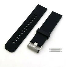 Black Silicone Rubber Replacement Watch Band Strap Wide Style Metal Steel Buckle