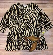 NWT TanJay Zebra Print Tunic Blouse Sz L
