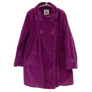 Mini Boden Girls Size 7/8 Pink Velvet Velour Pea Coat Jacket Floral Lined