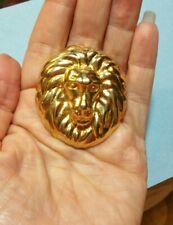 Vintage Repousse Pin Baboon Monkey Ape Face Head Golden Jewelry Brooch