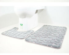 2Pcs/set Microfibre Polyester Quick Drying Toilet Non-Slip Rubber Backed Mat New