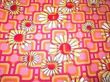 Vtg Mid-Century Fabric Orange Hot Pink  Flowers Daisies Geometric 2.8 Yards