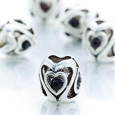 5Pcs Silver Double Heart Black Gemstone Spacer Beads Lot Fit European Bracelet