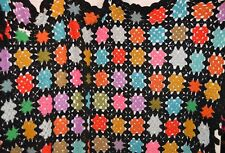 "Granny Square Afghan Stained Glass Vibrant Color 43""x 68"" Mixed yarn"