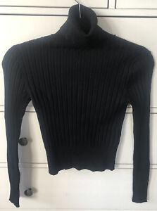 Zara Turtle Neck Long Sleeve Top Black Size M BNWT
