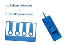 NEU 1 x Reifenprofilmesser Profiltiefenmesser + 1 x Reifenmarkier-Set Blau
