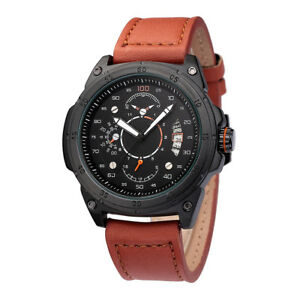 Sport Army Automatic Mechanical Watch Men Creative Dial Leather Band with Date