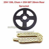25H 136L Chain 68T Rear Sprocket For 47cc 49cc 2 Stroke Minimoto ATV Pocket Bike