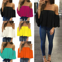 Womens Off Shoulder Boob Tube Tops Strapless Ruffle Frill Ladies Blouse T-Shirts