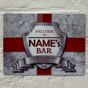 Personalised England English Flag Sign Metal Sign A4 - A5 size Bar Add Name