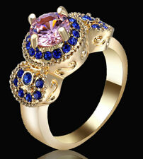 Lady/Women's 14KT Yellow Gold Filled Pink sapphire Wedding Ring Gift size 8