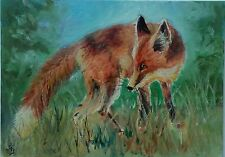 Hand Painted Original ACEO Oil Wildlife Animal RED FOX Signed by JV