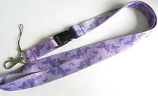 MOBILE PHONE/IDENTITY CARD NECK STRAP LANYARD LILAC BUTTERFLY/FLOWER MOTIF
