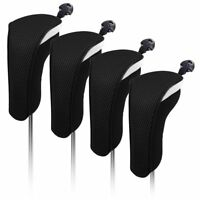 Black Set! 4PCS Golf Hybrid Cover Headcovers For Taylormade Titleist Adams Cobra