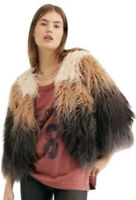 Free People FP One Terra Shaggy Fur Ombré Funky Fun Jacket Coat Large NWT $368