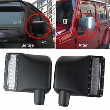 Side Mirror Housing with White Amber Turn Signal Lights For Jeep Wrangler JK JKU