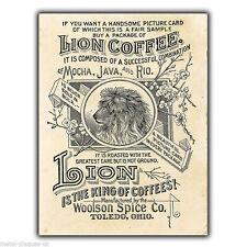 Metal Sign Wall Plaque Lion Brand Coffee Retro Vintage poster Advert Print 1890