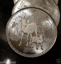 (#ZA9) 2015 1 oz Silver Year of the Goat Round .999 Pure Silver Bullion Round