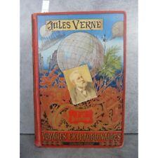 Hetzel Jules Verne p tit bonhomme cartonnage portrait collé dos au phare Voyages