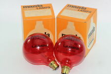 2 x Mazda Red Vintage Decor Lamps / Bulb 240V 40W Round BC Globe Light Bulb