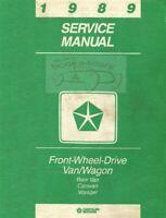 CARAVAN VOYAGER 1989 SHOP MANUAL SERVICE REPAIR DODGE PLYMOUTH CHRYSLER BOOK
