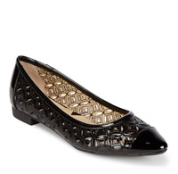 NEW Lovely ADRIENNE VITTADINI Point Toe CUT OUTS Flats BLACK Size 6 M $89 MSRP