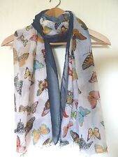 Ladies Large Lightweight Scarf BUTTERFLY Multicolour with Blue Border