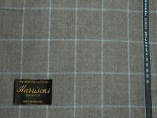 SUPERFINE WOOL WORSTED SUITING FLANNEL, SEMI MILLED, LT/MID GREY,WINDOWPANE 3.5M