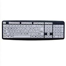 Large Print USB Computer Keyboard White&Black Keys for Low Vision Old Men