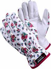 Ladies gardening gloves leisure white leather rose pattern lightweight 1% latex