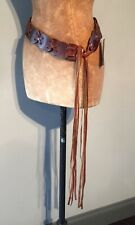 "VINTAGE BROWN FUNKY HIPPY DISC LEATHER BELT - 30"" + LONG FRINGE"
