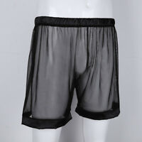 Sexy Men Lingerie Briefs See-through Mesh Loose Lounge Boxer Shorts Underwear