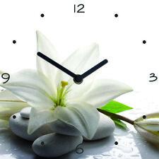 Uhr Wanduhr Glasuhr Glasbild 30X30 weiß Wellne Steine Orchidee : Art. 06