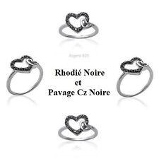 Bague Rhodié T58 Coeur Pavé Diamant Cz Noire Argent Massif 925 de Dolly-Bijoux