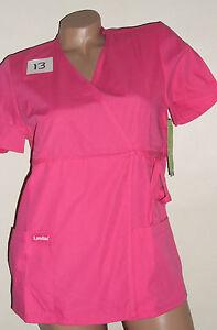 Landau Scrub Top Wrap with side tie Bottom Pockets Pink PRMP Style 8163 Sz XS